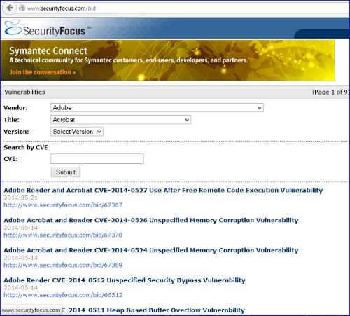 Contoh daftar celah keamanan Adobe Reader dan Acrobat di Security Focus