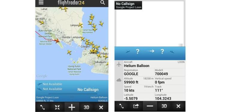 Balon udara Google tercatat dalam flightradar24